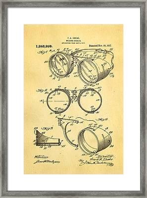 Ihrcke Welding Goggles Patent Art 1917 Framed Print by Ian Monk