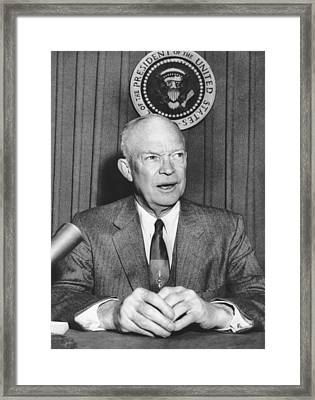 Ike Supports Radio Free Europe Framed Print by Underwood Archives