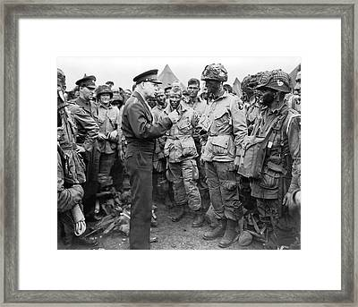 Ike With D-day Paratroopers Framed Print by Underwood Archives