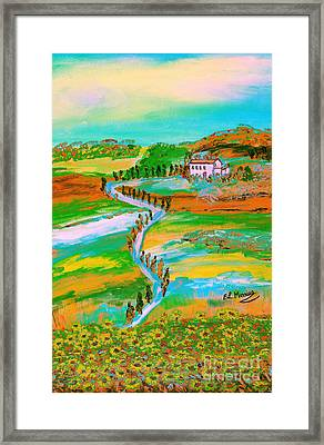 Framed Print featuring the painting  Tuscan Countryside by Loredana Messina