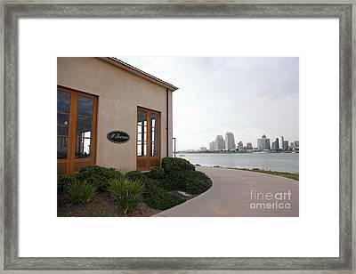 Il Fornaio Italian Restaurant In Coronado California Overlooking The San Diego Skyline 5d24364 Framed Print by Wingsdomain Art and Photography
