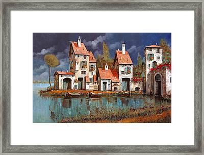 Il Villaggio Sul Lago Framed Print by Guido Borelli