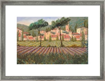 Il Villaggio Tra I Campi Di Lavanda Framed Print