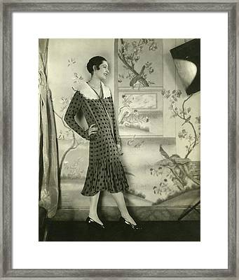 Ilka Chase Wearing A Lanvin Dress Framed Print by Edward Steichen