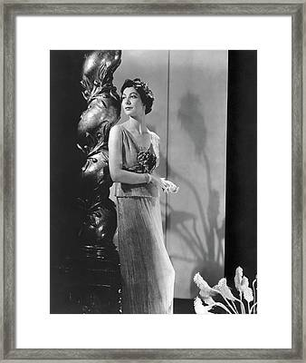 Ilka Chase Wearing A Mainbocher Dress Framed Print by Horst P. Horst