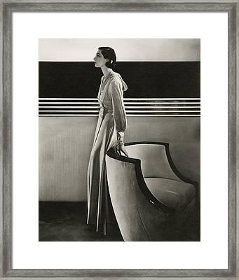 Ilka Chase Wearing Black Starr And Frost-gorham Framed Print by Edward Steichen