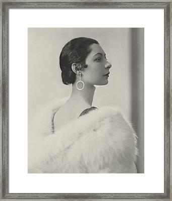 Ilka Chase Wearing Diamond Earrings Framed Print