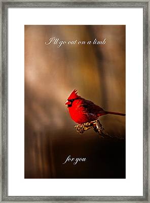 I'll Go Out On A Limb For You. Framed Print by Randall Branham