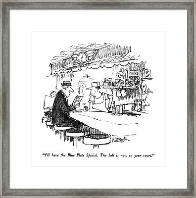 I'll Have The Blue Plate Special.  The Ball Framed Print by Robert Weber