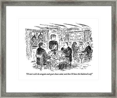I'll Start With The Arugula-and-goat-cheese Salad Framed Print by Edward Kore