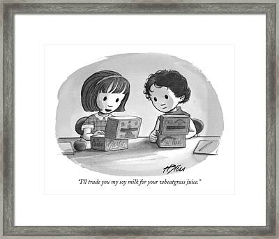 I'll Trade You My Soy Milk For Your Wheatgrass Framed Print by Harry Bliss