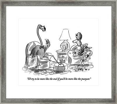 I'll Try To Be More Like The Owl If You'll Framed Print by Edward Frascino