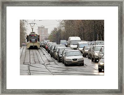 Illegally Parked Cars Next To Tramline Framed Print