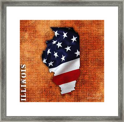 Illinois American Flag State Map Framed Print
