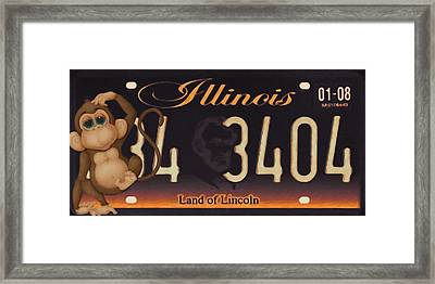 Illinois License Plate Framed Print by Lanjee Chee