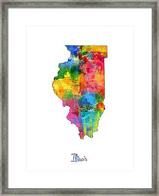 Illinois Map Framed Print