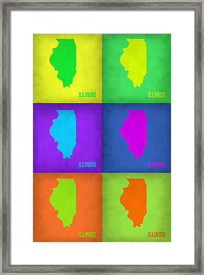 Illinois Pop Art Map 1 Framed Print by Naxart Studio