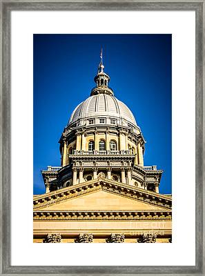 Illinois State Capitol Dome In Springfield Illinois Framed Print by Paul Velgos