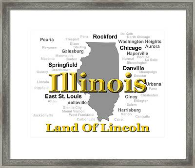 Illinois State Pride Map Silhouette  Framed Print by Keith Webber Jr