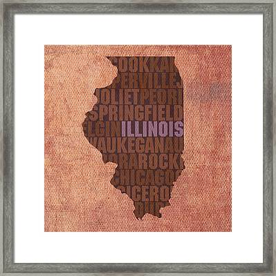 Illinois State Word Art On Canvas Framed Print