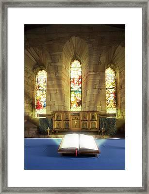 Illuminated Bible In Church Framed Print