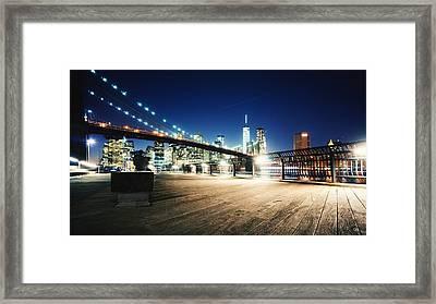 Illuminated Brooklyn Bridge By City Framed Print by Arnaud Mallen / Eyeem