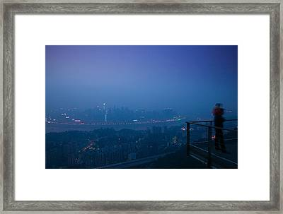 Illuminated City Viewed From Yikeshu Framed Print by Panoramic Images
