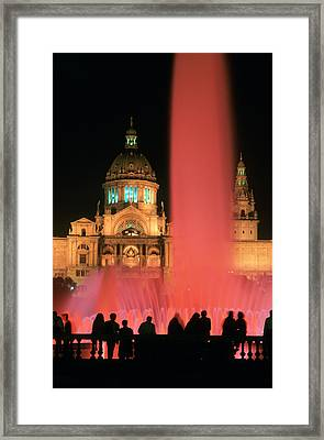 Illuminated Fountain Framed Print by Ken Straiton