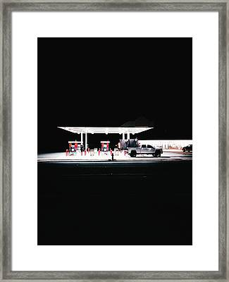 Illuminated Gas Station With Car At Framed Print by Constantin Renner / Eyeem