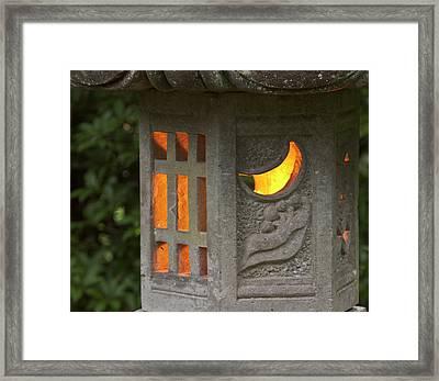 Illuminated Lantern In Portland Framed Print