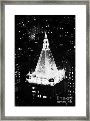 Illuminated Night View Of New York Life Insurance Co Building Roof New York City Framed Print