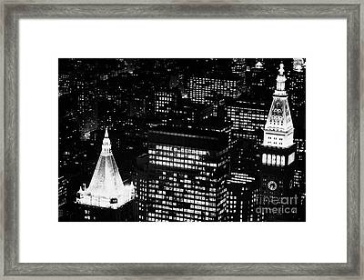 Illuminated Night View Of Roof Of New York Life Insurance Co Building And Metropolitan Life Insuranc Framed Print