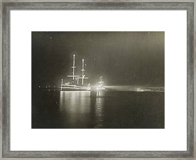 Illuminated Ship In Amsterdam, The Netherlands Framed Print