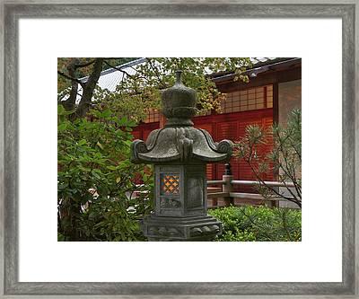 Illuminated Stone Lantern And Pavilion Framed Print