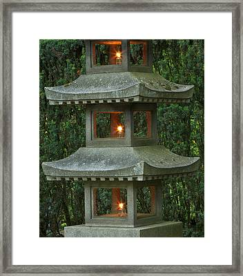 Illuminated Stone  Pagoda Lantern Framed Print by William Sutton