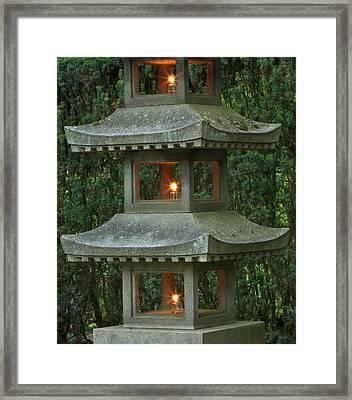 Illuminated Stone  Pagoda Lantern Framed Print