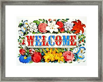 Illuminated Welcome Sign 1873 Framed Print by Padre Art