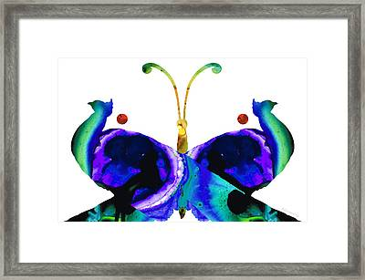 Illusion - Peacock Butterfly Art Painting Framed Print by Sharon Cummings