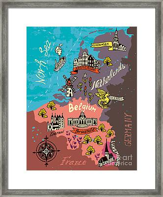 Illustrated Map Of The Netherlands Framed Print
