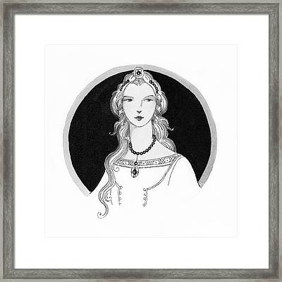 Illustrated Portrait Of A Woman Framed Print