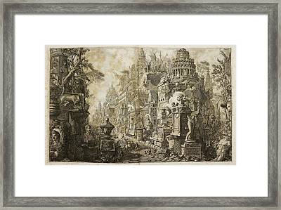 Illustrated View Of Italian Landscape Framed Print