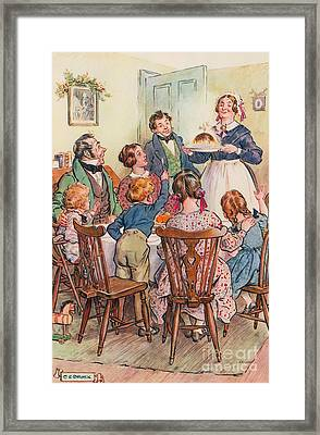 Illustration For A Christmas Carol Framed Print by Charles Edmund Brock