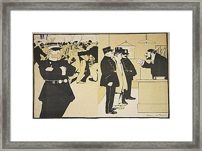 Illustration From Lassiette Au Beurre Framed Print by Georges d' Ostoya