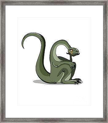 Illustration Of A Brontosaurus Thinking Framed Print by Stocktrek Images