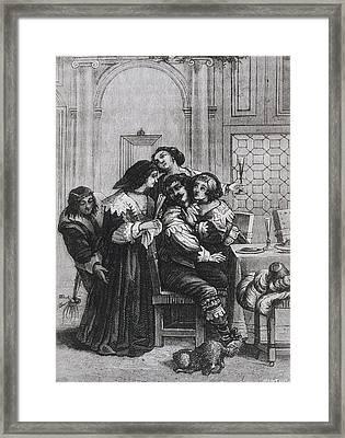 Illustration Of A Brothel During 17th Framed Print