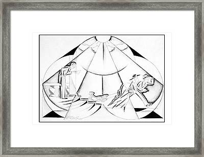 Illustration Of A Couple Running Away Framed Print by John Barbour