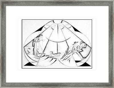 Illustration Of A Couple Running Away Framed Print
