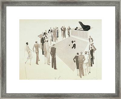 Illustration Of A Crowd Gathering To Watch Tap Framed Print
