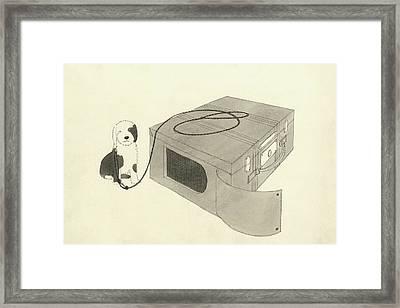 Illustration Of A Dog Beside A Travelling Case Framed Print