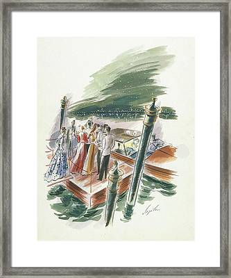 Illustration Of A Group Of People Partying Framed Print
